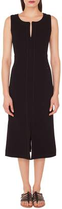Akris Topstitch Double Face Stretch Wool Dress
