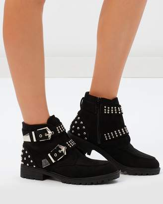 Missguided Double Buckle Cleated Sole Boots