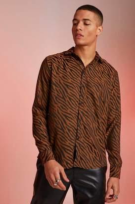 boohoo Jacquard Animal Long Sleeve Shirt
