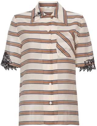 Fendi oversized stripe print embroidered shirt
