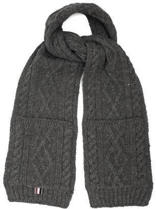 Thom Browne Cable Knit Wool Scarf - Mens - Grey