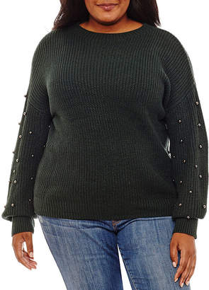 A.N.A Long Embellished Sleeve Pullover Sweater - Plus