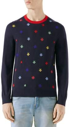 Gucci Bee Embroidered Wool Crewneck Sweater