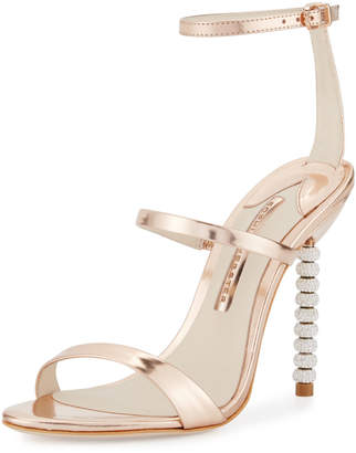 Sophia Webster Rosalind Crystal-Heel Leather Sandals, Rose Gold