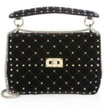 Valentino Velvet Rockstud Spike Top Handle Bag