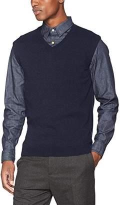 Sisley Men's S/l V Neck Sweater Vest, (Navy Blue 61y)