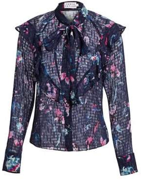 Tanya Taylor Layla Silk-Blend Ruffled Tie-Neck Blouse