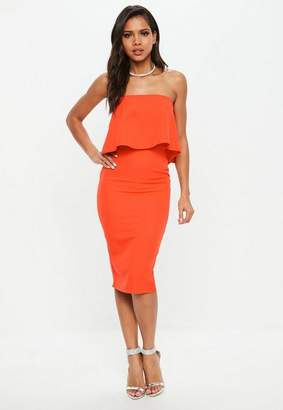 Missguided Bandeau Frill Woven Midi Dress