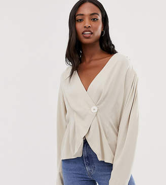 Asos Tall DESIGN Tall long sleeve asymmetric wrap top with button detail