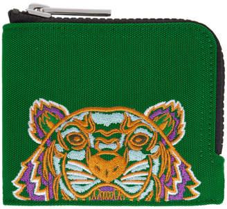 Kenzo Green Tiger Zip Around Wallet