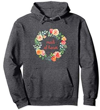 Maid of Honor Matching Wedding Hoodie Peach Floral