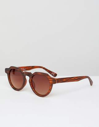 Jeepers Peepers Jeepers Peepes wood print round sunglasses