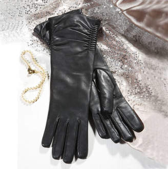 Southcombe Gloves Audrey. Women's Ruched Long Leather Gloves