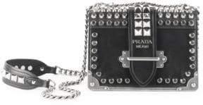Prada Small Studded Cahier Leather Crossbody Bag