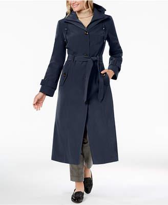 London Fog Belted Bib Maxi Trench Coat