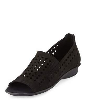 Sesto Meucci Ellen Perforated Comfort Slip-On Flat, Black $165 thestylecure.com