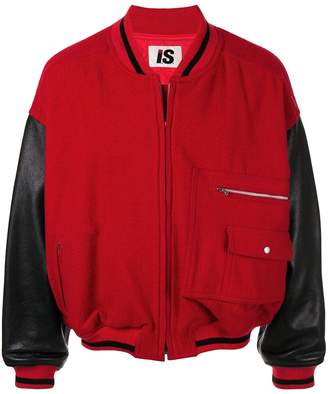 Issey Miyake Pre-Owned 1980s Sports Line leather sleeves bomber