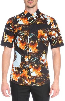 Givenchy Printed Short-Sleeve Woven Shirt, Orange $685 thestylecure.com