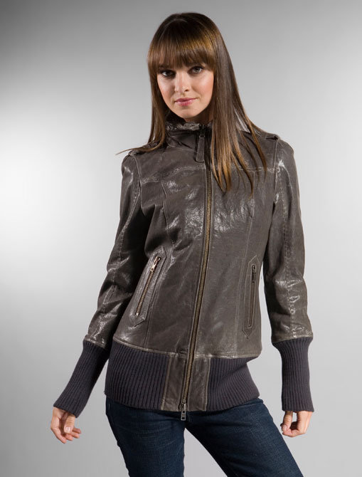 Mackage Hip Length Leather Jacket in Black