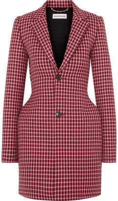 Balenciaga Hourglass Houndstooth Wool Blazer - Red