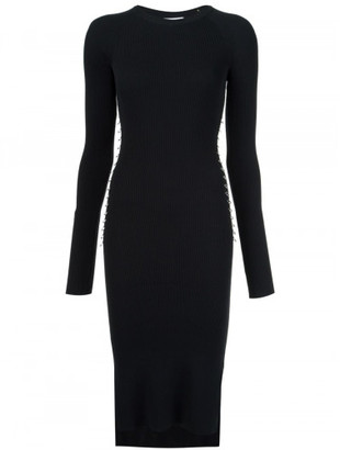 Mugler metallic loop detail ribbed dress $1,001 thestylecure.com