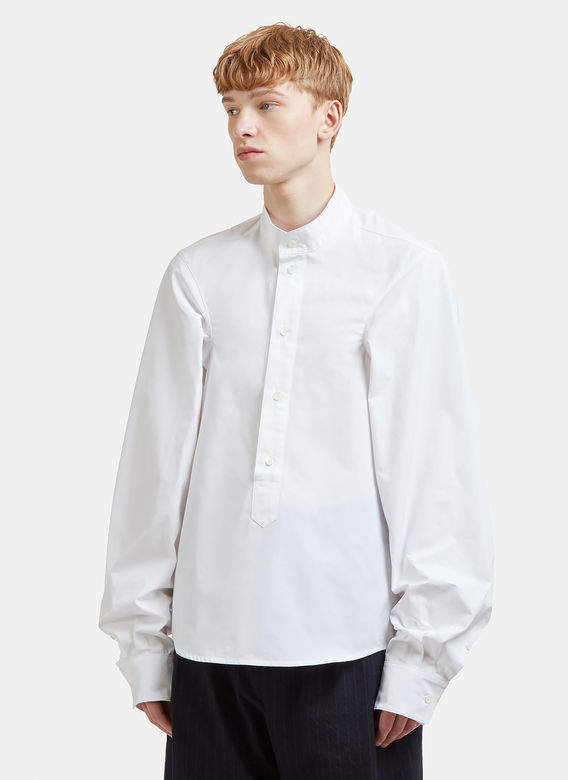 Hed Mayner Extended Sleeve Shirt in Whit...