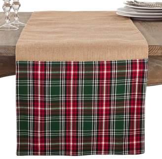 Gracie Oaks Kating Plaid Ruffle Holiday Jute Christmas Table Runner