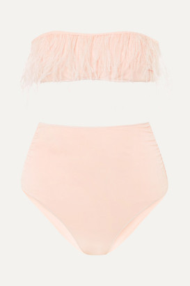 Oseree Feather-trimmed Bandeau Bikini - Pink