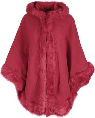 Lush Oops Outlet Womens Warm Winter Hood Hooded Wrap Poncho Faux Fur Ladies Cape Mantle Coat