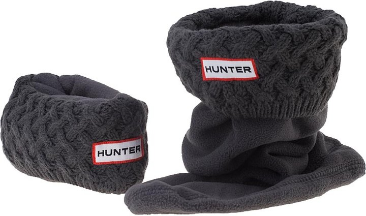Hunter Welly Warmer Basket Weave Knit Charcoal