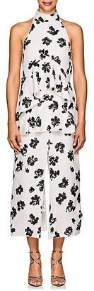 Proenza Schouler Women's Floral Jacquard Tiered Midi-Dress - Black, Pink