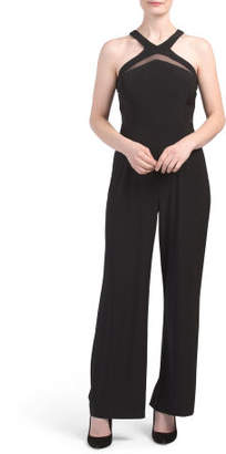 Petite Jumpsuit With Mesh Insets