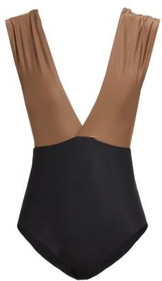 Haight Roge Deep V Neck Swimsuit - Womens - Black Beige