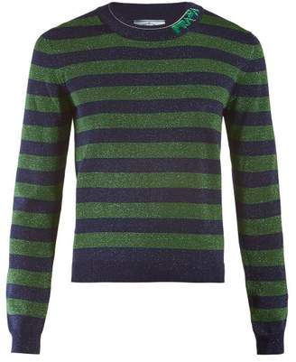 Prada Logo Intarsia Metallic Striped Sweater - Womens - Green Multi