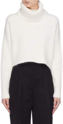 3.1 Phillip Lim Oversized brushed rib knit cropped turtleneck sweater