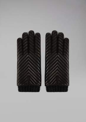Giorgio Armani Gloves In Nappa Leather With Chevron Design And Cashmere Lining