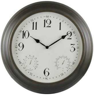"""Backyard Expressions 18"""" Metal Weather Monitoring Indoor/Outdoor Clock - Bronze"""