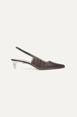 REJINA PYO Lois Croc-effect Leather Slingback Pumps - Charcoal