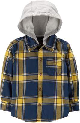 Carter's Baby Boy Flannel Plaid Hooded Button Down Shirt