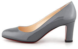 Christian Louboutin Mistica Low-Heel Red Sole Pump, Gray