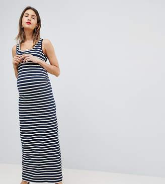 Mama Licious Mama.licious Mamalicious organic cotton striped bodycon maxi dress