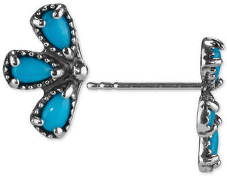 American West Turquoise Fan Stud Earrings (1-1/4 ct. t.w.) in Sterling Silver