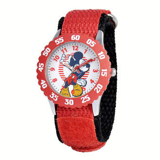 Disney Mickey Mouse Kids Time Teacher Red Nylon Fast Strap Watch