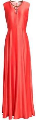 Roksanda Fluted Silk Satin-Crepe Gown