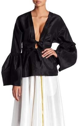 TOV Organza Kimono Long Sleeve Blouse