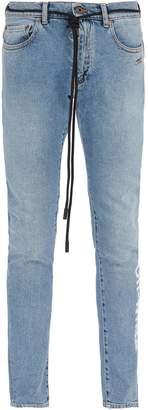 Off-White Shoelace-belt slim-fit jeans