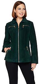 Dennis Basso Washable Suede Zip Front Jacket