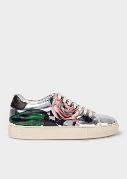 Paul Smith Women's Silver 'Rose' Print Leather 'Basso' Trainers