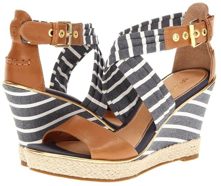 Sperry Aurora (Cognac/Navy Breton Stripe) - Footwear