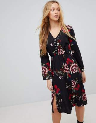 Girls On Film Floral Midi Dress With Hook And Eye Fastening